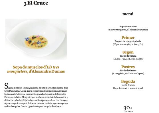 Menú Sabors literaris d'El Cruce Restaurant